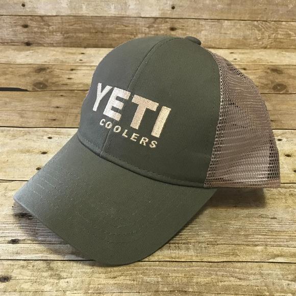 Yeti Coolers Snapback Mesh Trucker Hat Olive Green f1aa40978a58